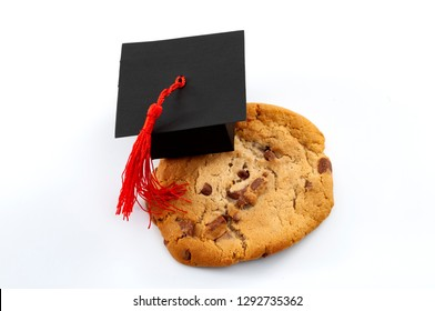 One smart cookie Idiom and a symbol for intelligent concept with close up on a cookie wearing a graduation cap isolated on white background