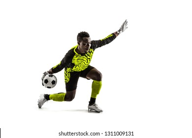 one soccer player goalkeeper man throwing ball. Silhouette isolated on white studio background
