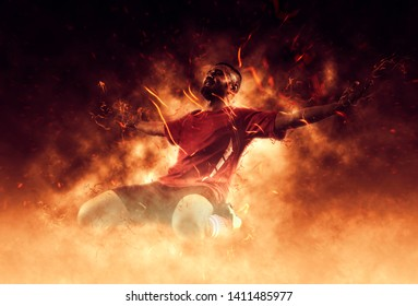 One soccer player man happy celebration winner on flames background – Image