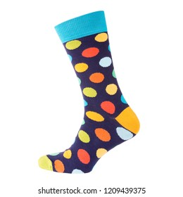 one sock with different circles is standing on a white background, volumetric sock