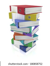 one stack of coloured office binders (3d render)