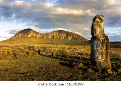 One standing moai in evening sun in Easter Island