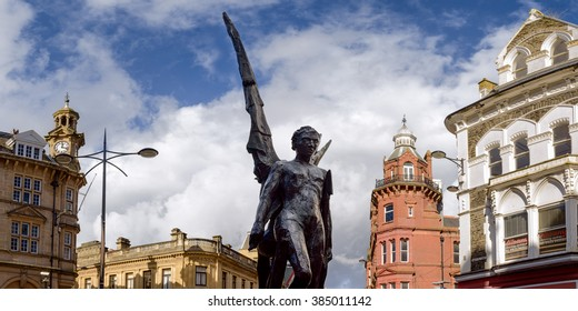 One of the statues in the center of Newport City, Wales.