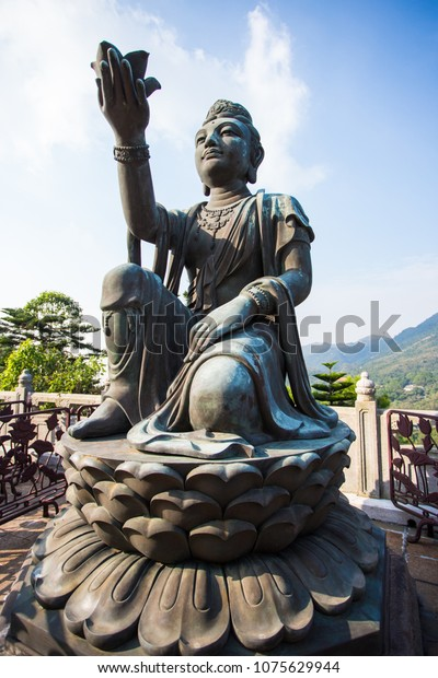 One Statues Holding Lotus Flower Surrounding Stock Photo Edit Now