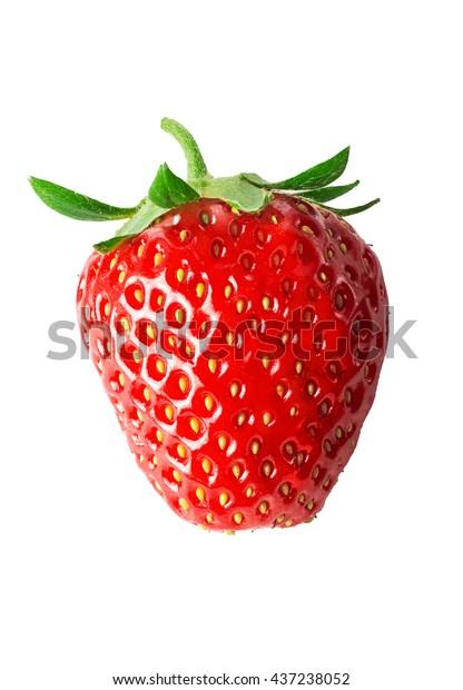 One strawberry close-up. Isolated on white background.