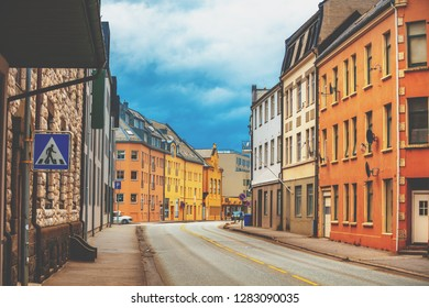 One of the streets of Aalesund city, Norway, Europe