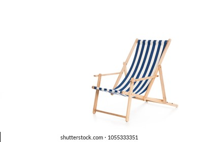 one striped beach chair, isolated on white