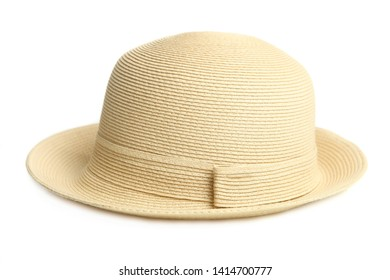 One stylish women's beach straw hat isolated on white. Concept accessory.