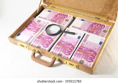 One Suitcase Full of Pink 500 Euros Banknotes