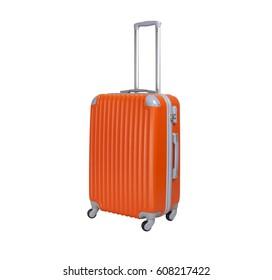 One suitcase isolated on white background. Polycarbonate suitcase isolated on white. Orange suitcase