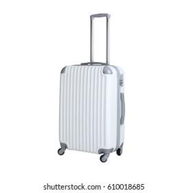 One suitcase isolated on white background. Polycarbonate suitcase isolated on white. White suitcase.