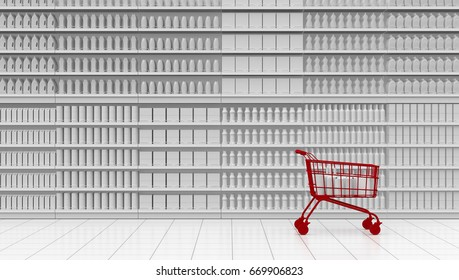 one supermarket corridor with shelves full of products and a red shopping cart, white background (3d render)