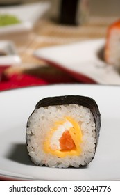 One sushi on white plate