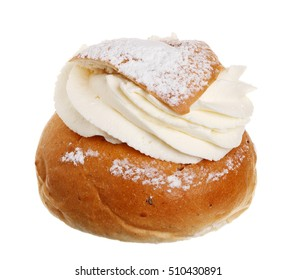 One Swedish Semla, also called Shrove bun, consists of light wheat bread with almond paste and whipped cream filling.