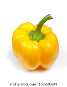One sweet yellow bell pepper isolated on white background