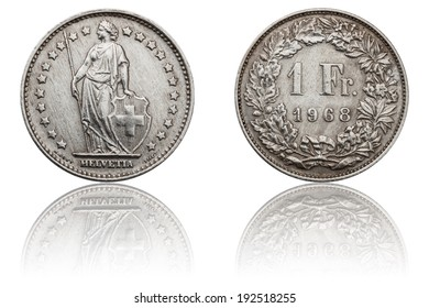 One Swiss Franc Coin - 1968, The Obverse and Reverse, Used Old Coin, Helvetia - Female National Personification of Switzerland, Numismatics