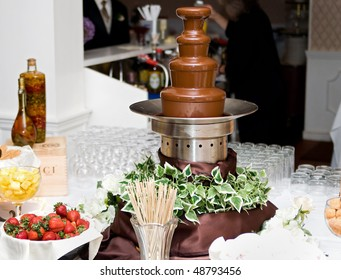 one tall 4 level chocolate fountain and various dunking items at a wedding reception