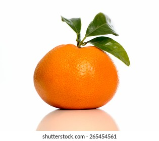 one tangerine on white background