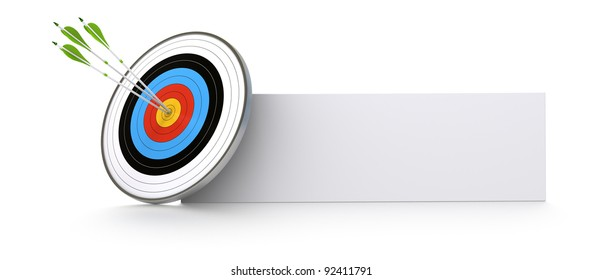 one target and three green arrows hitting the center of the bull's eye. There is a banner for advertising or communication space. white background