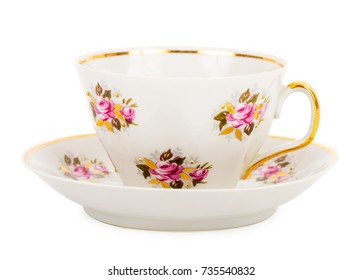 one teacup with saucer, isolated on white
