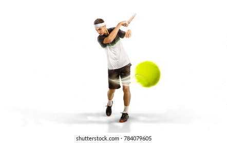 one tennis player isolated on white background