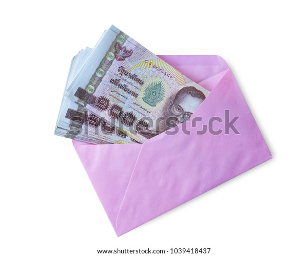 One thousand baht in pink envelope isolated on white background. This has clipping