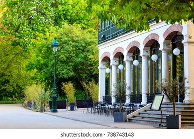 One of the three restaurants inside of the Buttes Chaumont park in Paris, France.