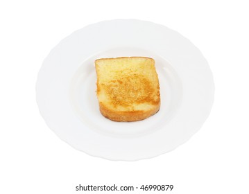 One toast on white plate isolated