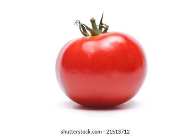 One tomato isolated against white background