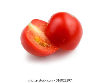 One tomato split in half isolated on white background