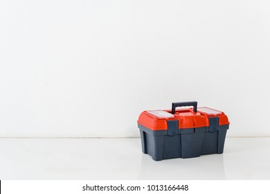 one tools box on white floor