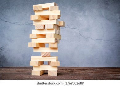 one tower of wooden blocks. business concept