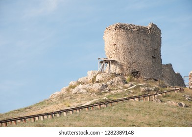 One of the towers of the ancient fortress Cembalo in Balaklava being under reconstruction, Crimea, Russia