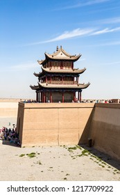 """One of the towers of Jiayuguan Fort, Gansu, China. Known as """"first pass under the heaven"""", it was the most western fort of ancient china on the silk road, the end of civilization before the Gobi deser"""