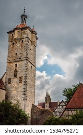 One of the towers in the medieval city of Rothenburg ob der Tauber, Klingentor (Klingen Gate), built between 1395 and 1400, Bavaria, Germany.