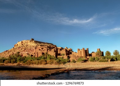 One of the traditional big castle (kasbah) made of stone in Morocco, located at Ait-Ben-haddou