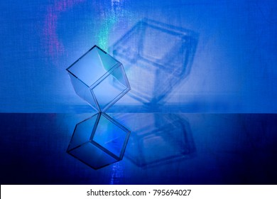 one transparent cube and shadow