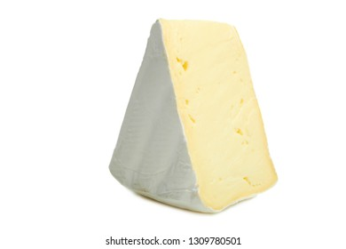 One triangular piece of delicate white Camembert cheese isolated on white background.