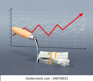 one trowel with stacks of banknotes and a financial chart, concept of real estate market (3d render)