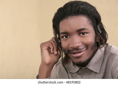 one twenties African American male business worker talking on a headset
