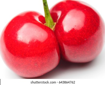 One twin cherry fruit close up macro shot isolated on white background