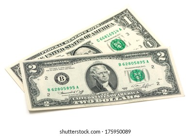 one and two dollars on a white background
