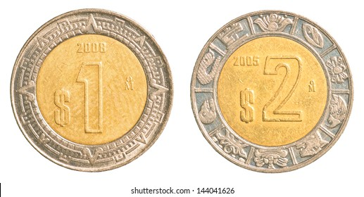 one & two mexican peso coins isolated on white background