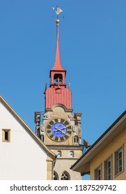 One of two towers of the City Church of Winterthur (German: Stadtkirche Winterthur) in Switzerland against blue sky.