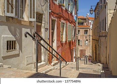 """One of the typical stairways in the historic quarter """"Le Panier"""" in Marseille in South France"""