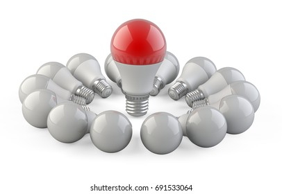 One unique red lamp from the other bulbs located in the form of a circle. Leadership concept. 3d Illustration.