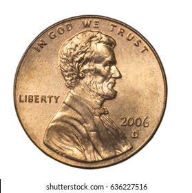 One us cent coin. Lincoln president portrait. Macro image isolated on white background.