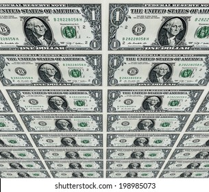 One US dollars bills pile as background