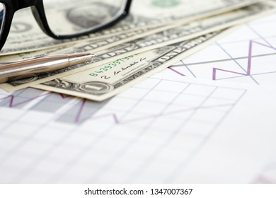 One USA dollar set and spectacles on paper background with graph