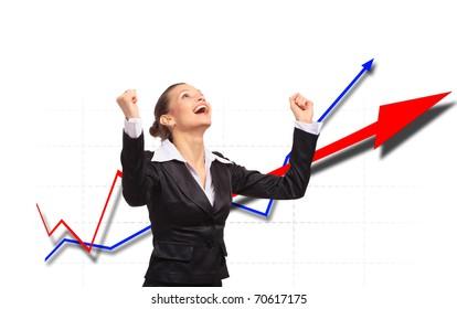 One very happy energetic businesswoman